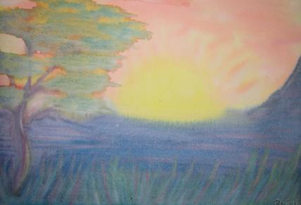 Atardecer Pintura al agua Autora: Rocío Bravo